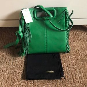MAJE • M bag in green leather authentic